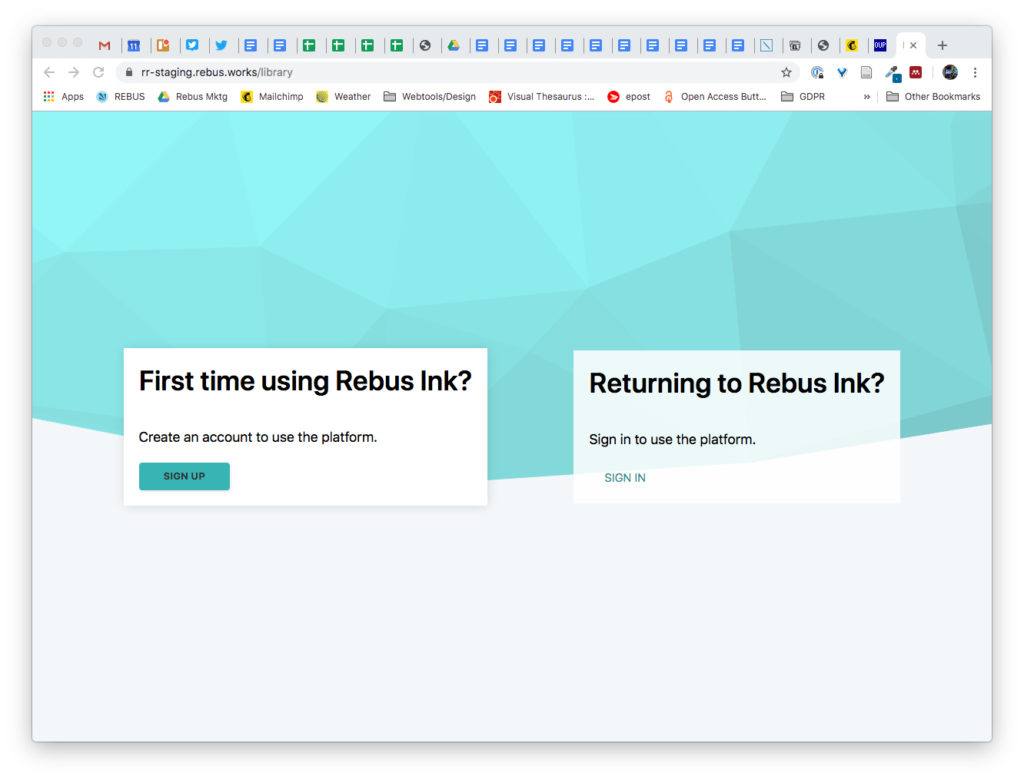 login to Rebus Ink using Google or a library login